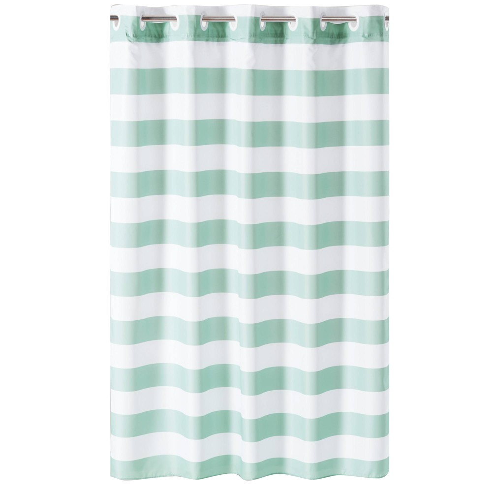 Image of Cabana Stripe Shower Curtain with Liner Aqua/White - Hookless