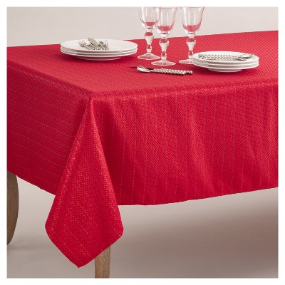 """65""""x140"""" Stitched Design Classic Tablecloth Red - Saro Lifestyle"""