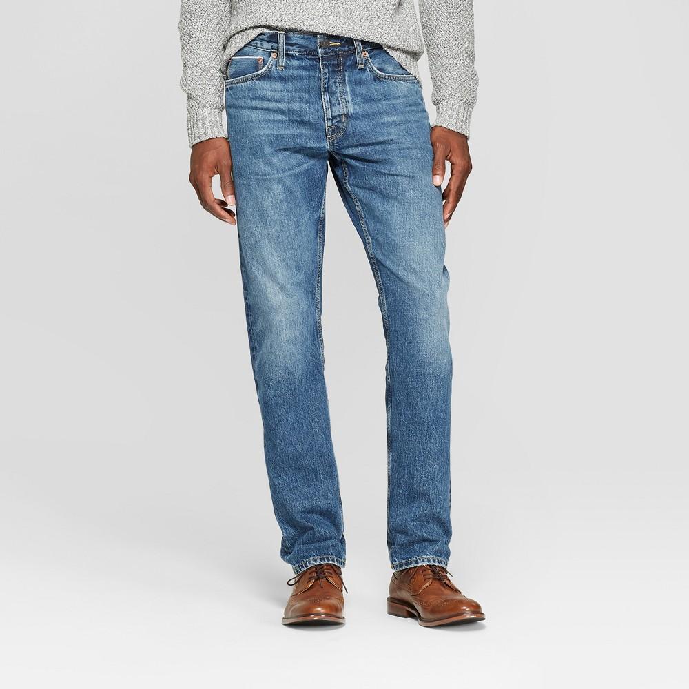 Men's Slim Straight Fit Selvedge Denim Jeans - Goodfellow & Co Medium Wash 33x30, Blue