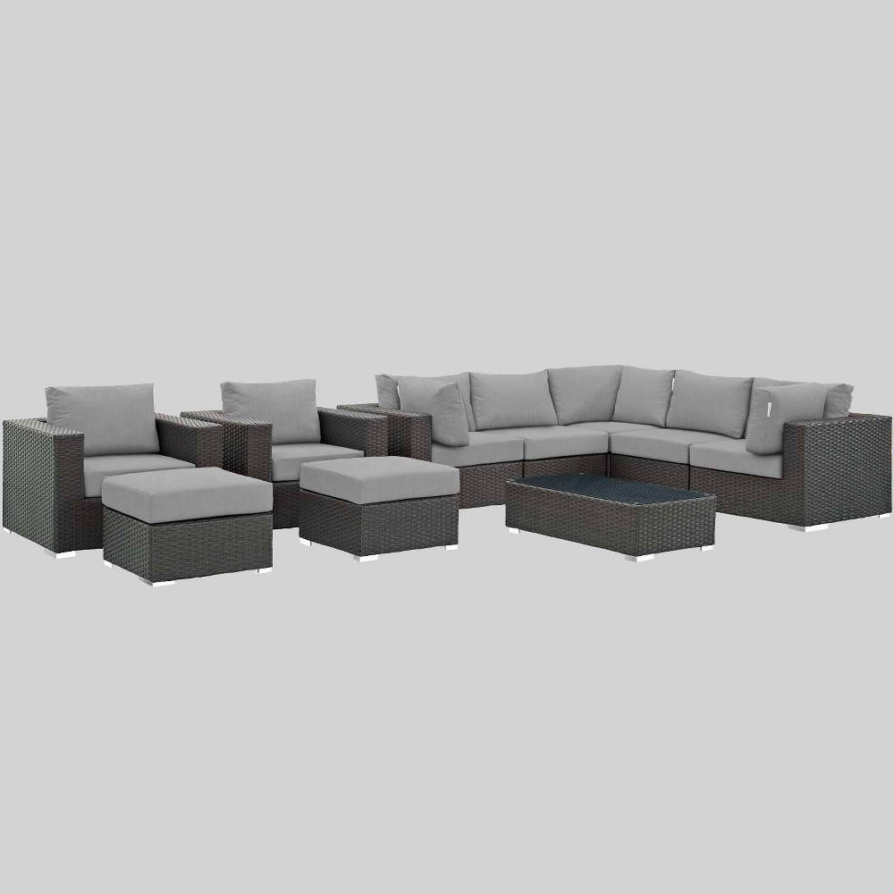 Sojourn 10pc Outdoor Patio Sectional Set with Sunbrella Fabric - Gray - Modway