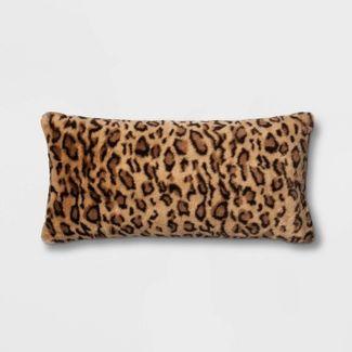 Leopard Faux Fur Oversize Lumbar Throw Pillow Neutral - Threshold™