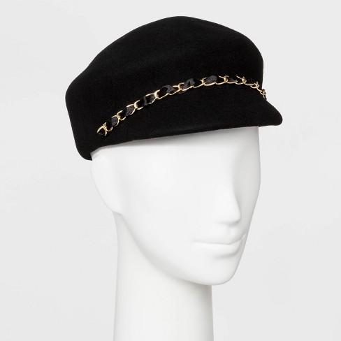 Women's Chain Trim Felt Newsboy Hat - A New Day™ Black - image 1 of 1