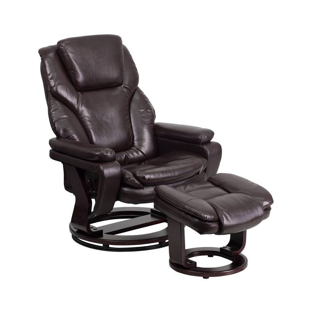 Image of 2pc Contemporary Recliner/Ottoman Set Brown Leather - Riverstone Furniture Collection