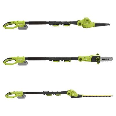 Sun Joe® Cordless 3-in-1 Garden Tool System (Pole Chain Saw-Pole Hedge Trimmer-Pole Blower - Green