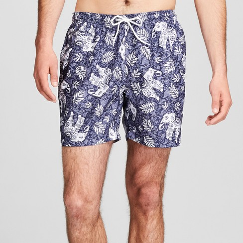 "Trunks Men's 6.5"" San-O Elastic Waist - Navy Elephants - image 1 of 3"