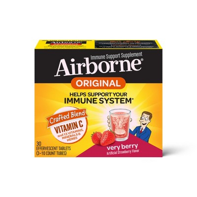 Airborne Very Berry Effervescent Tablets, 1000mg of Vitamin C - Immune Support Supplement 30 ea
