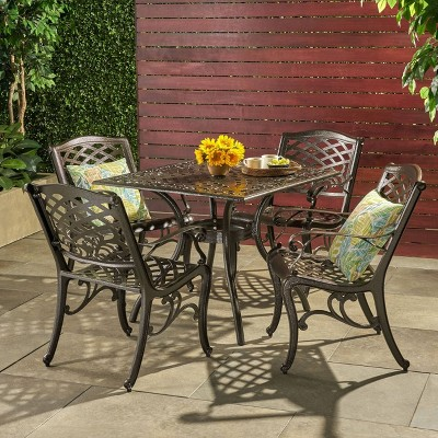 Hallandale 5pc Cast Aluminum Square Patio Dining Set - Hammered Bronze - Christopher Knight Home