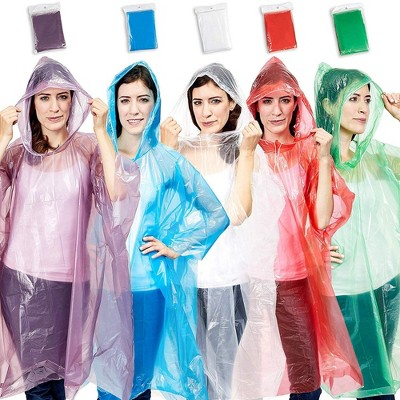 Juvale 10 Pack Adult Rain Poncho w/ Drawstring, Raincoats for Camping, Hiking, Sport or Outdoors (5 Colors)
