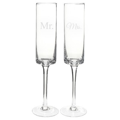 2ct Mr. & Mrs. Wedding Contemporary Champagne Flutes