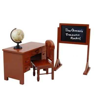 The Queen's Treasures 18 Inch Doll Furniture & Accessory, School Teachers Desk, Chair, Chalk Board,Globe