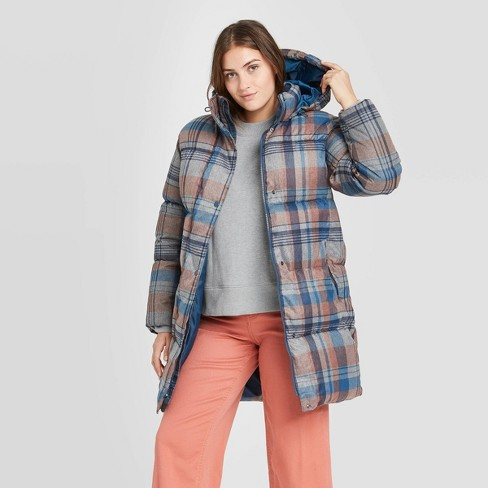 Women's Plaid Long Quilted Puffer Jacket - A New Day™ - image 1 of 3