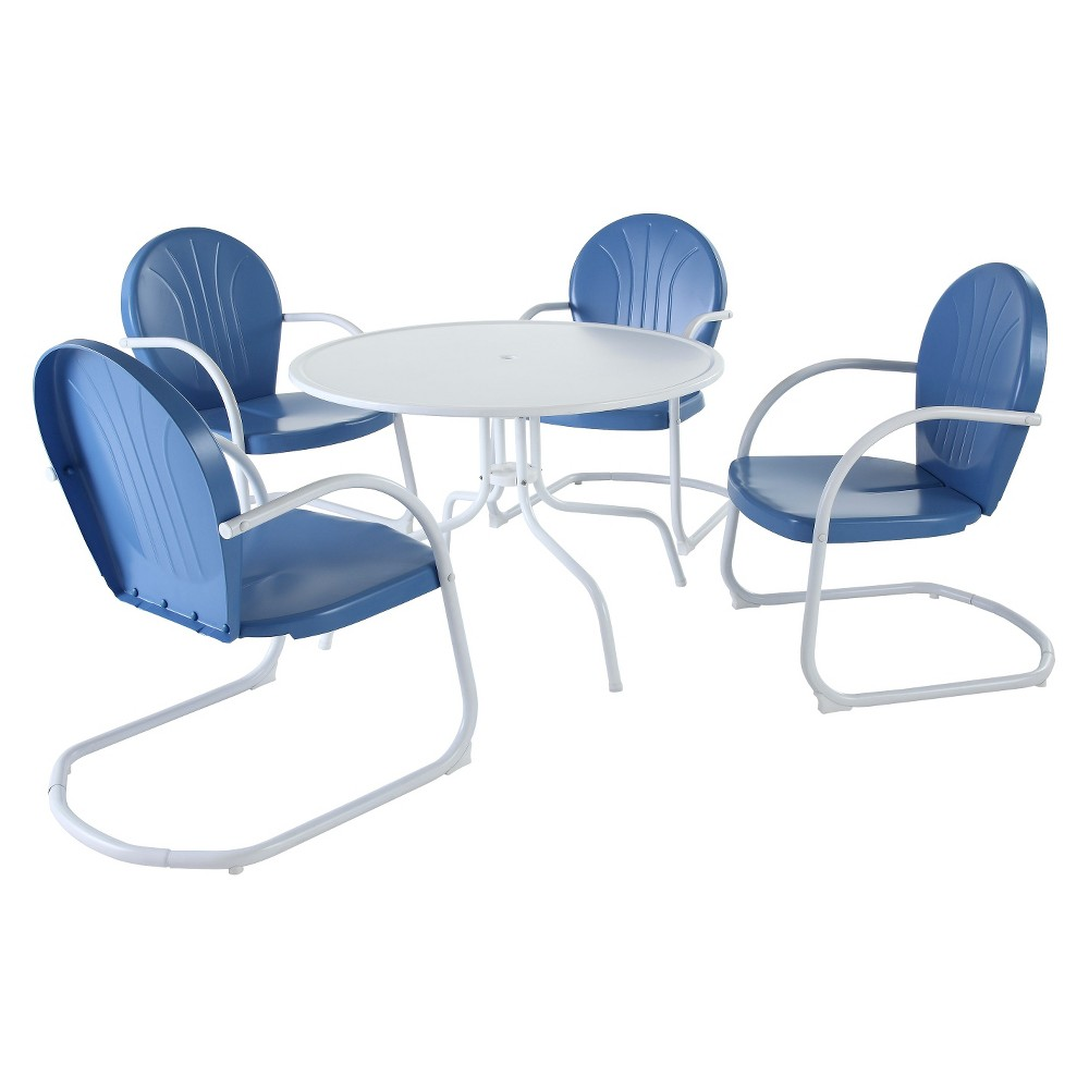 Griffith 5-Piece Metal Patio Dining Furniture Set - Blue