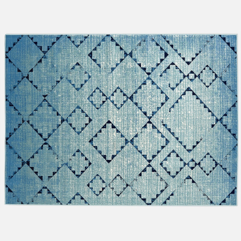 5' x 7' Distressed Diamonds Outdoor Rug Light Blue - Threshold
