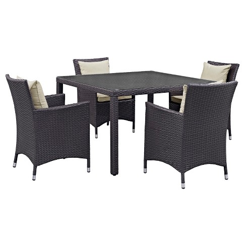 Convene 5pc Square All-Weather Wicker Patio Dining Set - Modway - image 1 of 8
