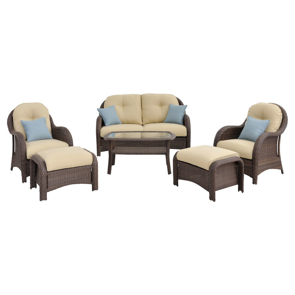 Hanover Outdoor Newport 6-Piece Woven Seating Set - Cream (Ivory)