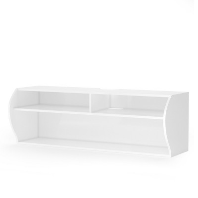 Costway 48.5'' Wall Mounted Audio/Video TV Stands Console W/Shelves for Living Room White