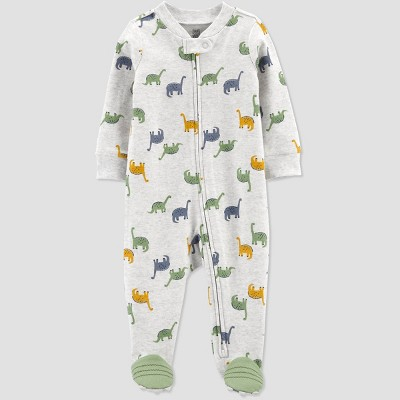 Baby Boys' Dino Interlock Footed Pajama - Just One You® made by carter's Olive Newborn