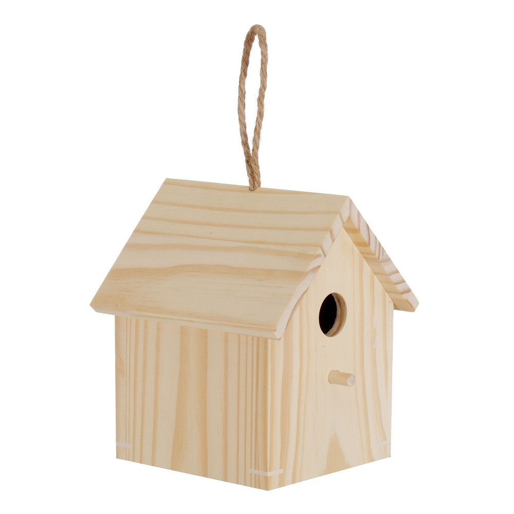 Image of Hand Made Modern Unfinished Bird House, Natural