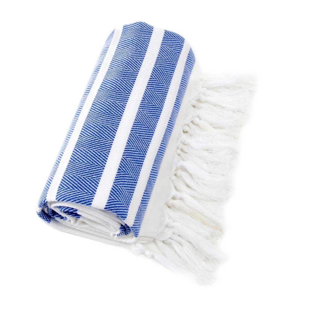 Image of Herringbone Pesetemal Beach Towel Royal Blue