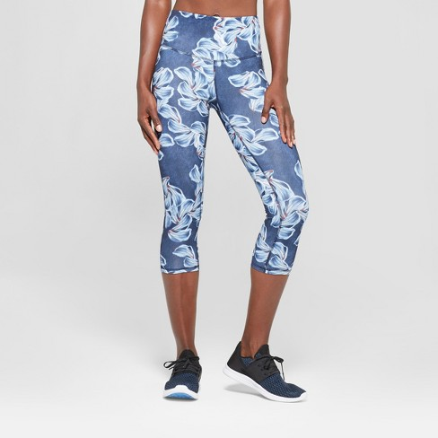 "Women's Floral Print Everyday High-Waisted Capri Leggings 20"" - C9 Champion® Blue L - image 1 of 2"