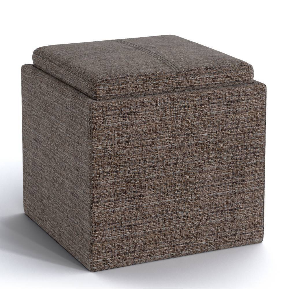 """Image of """"17"""""""" Townsend Cube Ottoman with Tray Mink Brown - Wyndenhall"""""""