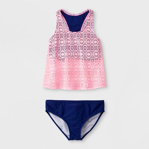 9b58efdbfb334 Malibu Dream Girl Girls  Effervescent Crochet Tankini Set - Aqua. Shop all Malibu  Dream Girl