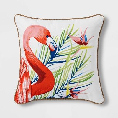 Flamingo Printed Square Throw Pillow with Jute Trim - Threshold™