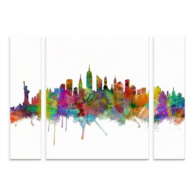 36.5 x48  Michael Tompsett 'New York City Skyline' Multi Panel Decorative Wall Art set - Trademark Fine Art