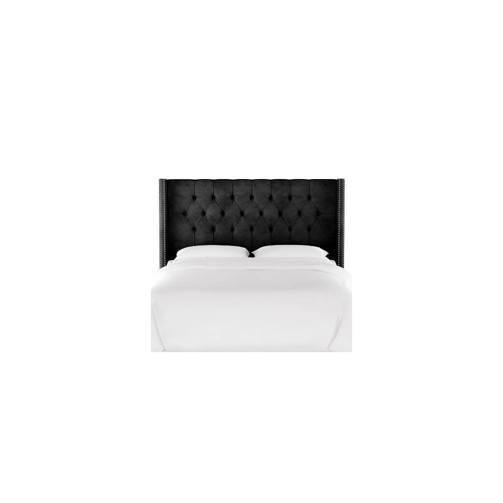 Queen Louis Diamond Tufted Wingback Headboard Black Velvet with Pewter Nail Buttons - Skyline Furniture