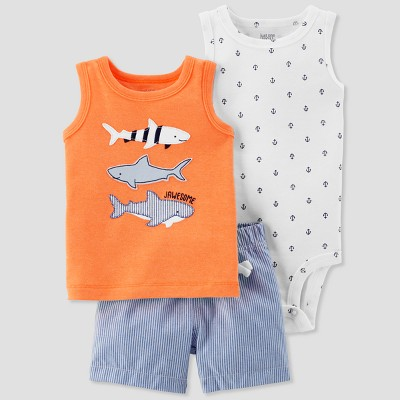 Baby Boys' 3pc Three Fish Set - Just One You® made by carter's Orange 9M