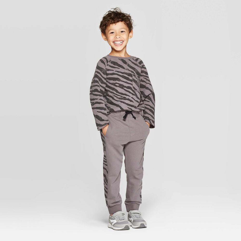 Image of Toddler Boys' Long Sleeve Tiger Print Top and Joggers Set - art class Gray 18M, Toddler Boy's