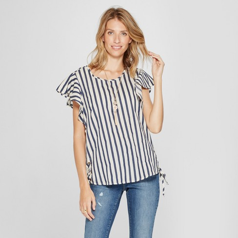 Women's Striped Short Sleeve Lace-Up Side Shirt - Lux II - Navy/White - image 1 of 2