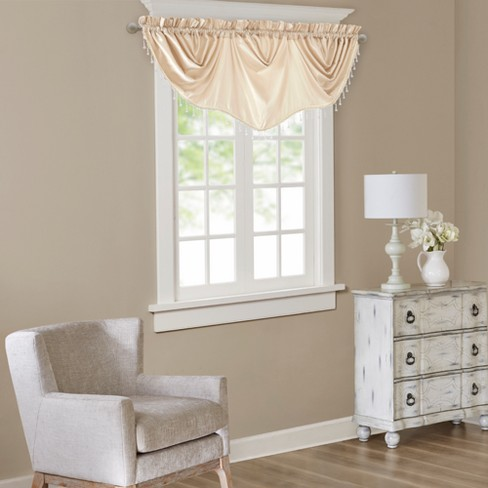 Eila Faux Silk Beaded Trim Imperial Valance - image 1 of 4