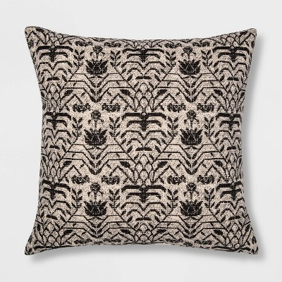 Floral Printed Square Pillow Black/Neutral - Threshold™