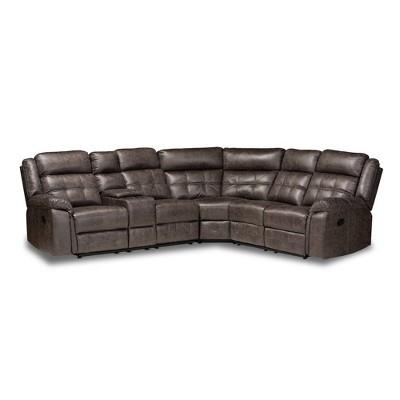 6pc Vesa Upholstered Sectional Recliner Sofa - Baxton Studio