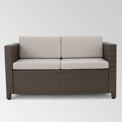 Puerta Wicker Loveseat - Brown/Gray - Christopher Knight Home