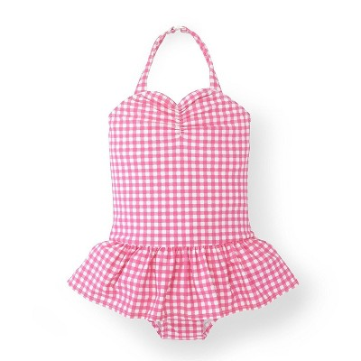Hope & Henry Girls' Ruched Pink Gingham One-Piece Swimsuit, Kids