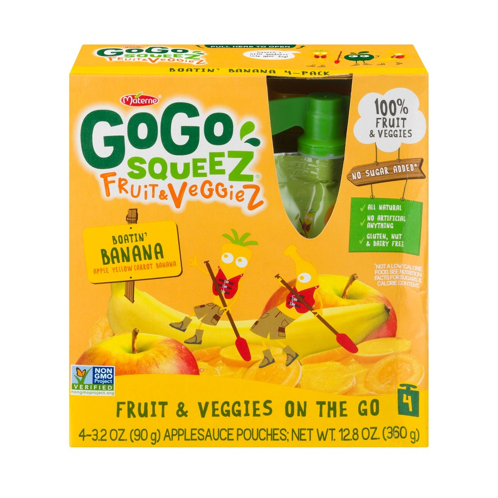 GoGo SqueeZ Apple Yellow Carrot Banana Fruit and Vegetable Pouch 4pk - 3.oz