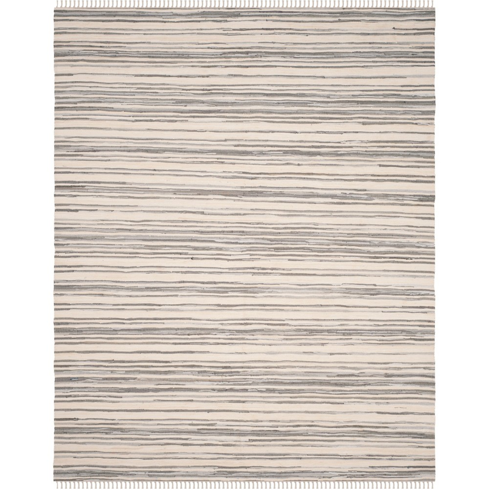 10'X14' Stripe Woven Area Rug Ivory/Gray - Safavieh