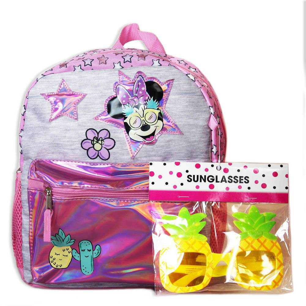 """Image of """"Disney Minnie Mouse 12"""""""" Kids' Backpack with Sunglasses, Pink"""""""