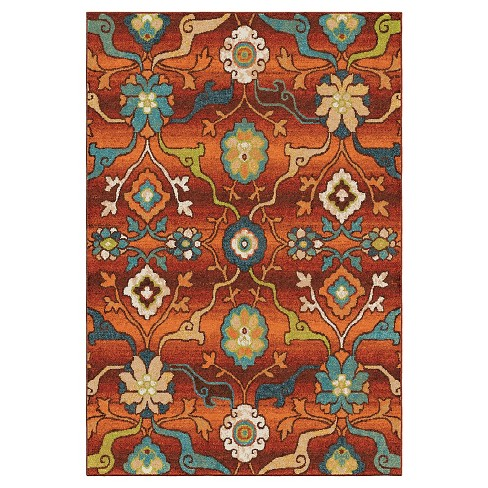 "Red Abstract Woven Area Rug - (7'10""x10'10"") - Orian - image 1 of 4"