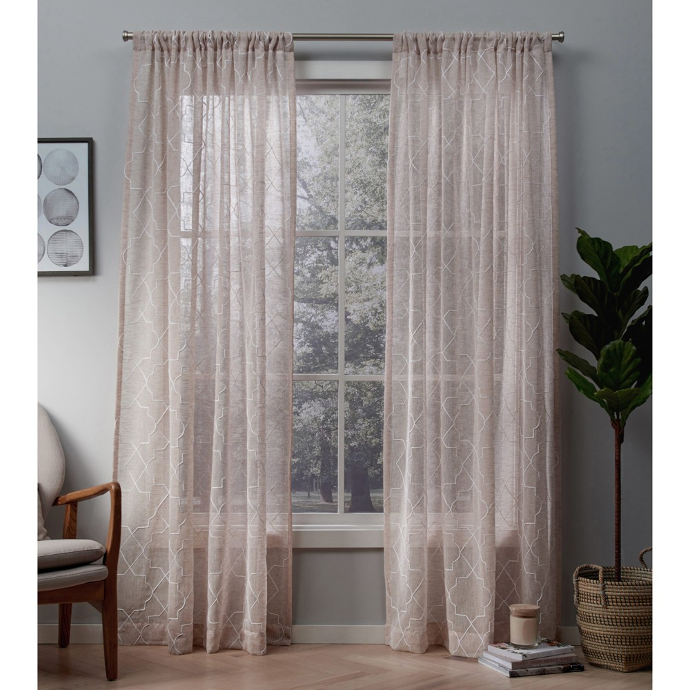 Cali Embroidered Sheer Rod Pocket Window Curtain Panel Pair Blush 50x108 - Exclusive Home