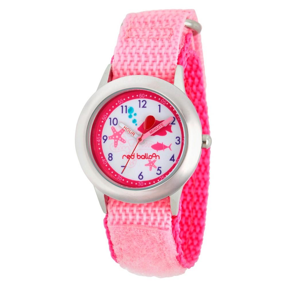 Girls' Red Balloon Stainless Steel Time Teacher Watch - Pink