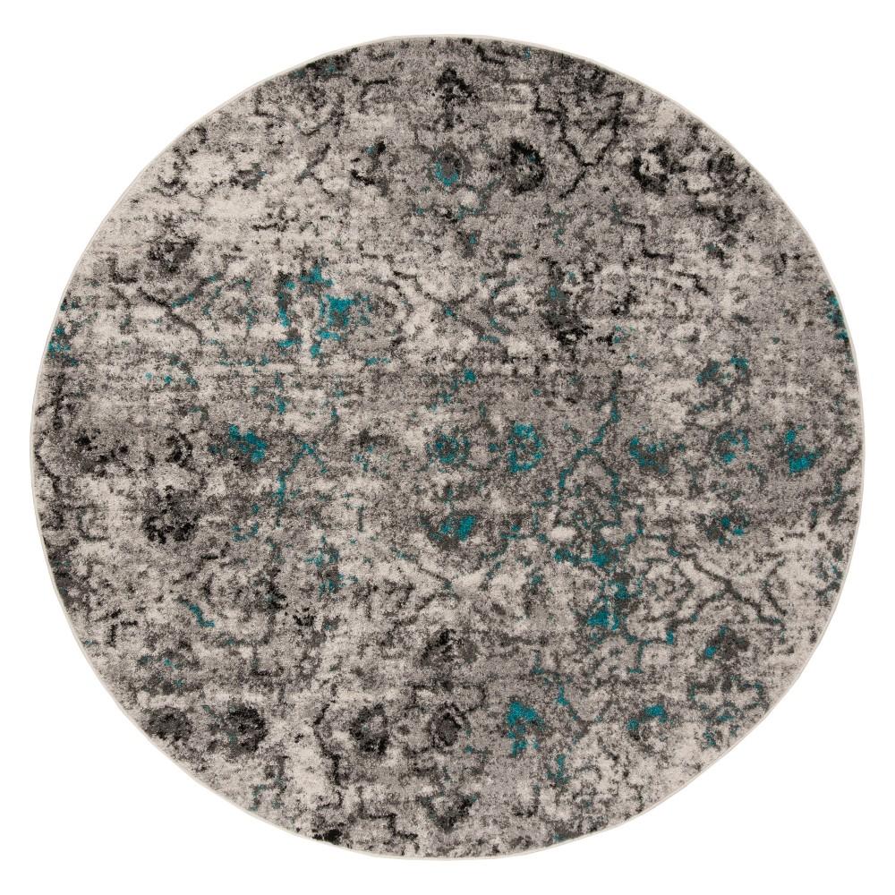 Gray/Black Geometric Loomed Round Area Rug 6' - Safavieh