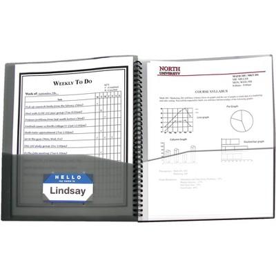 C-Line Spiral-Bound Poly Portfolio, 8-Pocket, Letter Size, Smoke