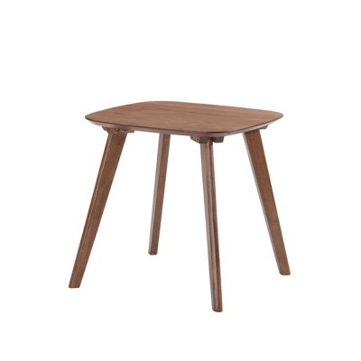 Emerald Home T550-1 Simplicity 19.75 Inch Walnut Brown Scandinavian Style Square Accent Side End Table with Curved Top and Round Slanted Legs