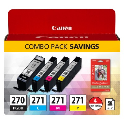 Canon 270/271 Single & 4pk Ink Cartridges - Black, Multicolor