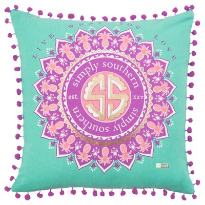 Simply Southern Medallion Throw Pillow Purple - Rizzy Home