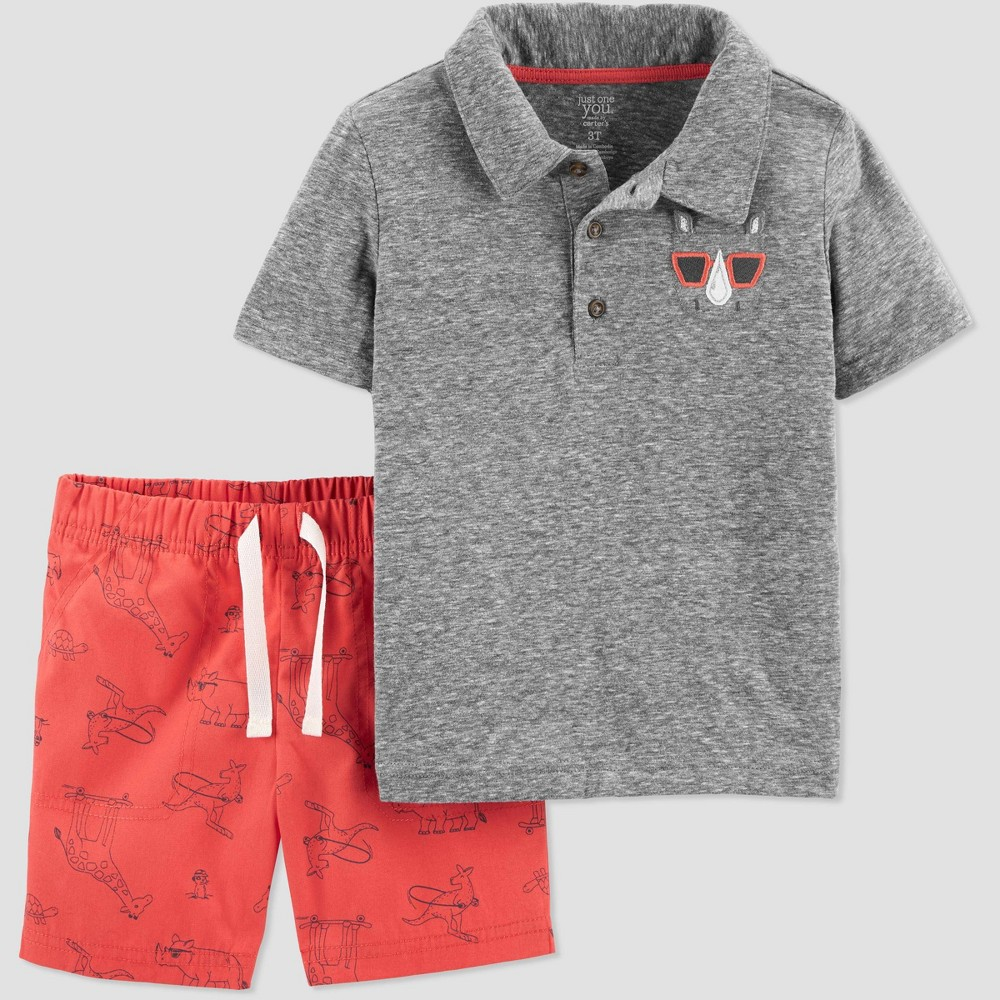 Toddler Boys' 2pc Rhino Shorts Set - Just One You made by carter's Gray/Red 3T