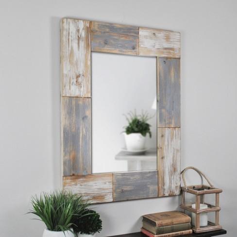 """24"""" x 1"""" x 31.5"""" Mason Farmhouse Planks Mirror Aged White - FirsTime & Co. - image 1 of 4"""